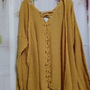 Mustard Yellow Cardigan with Lace Up Back